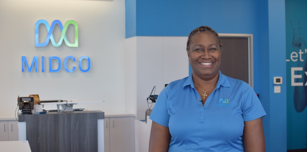 Midco employee Vivian Sanders at the Lawrence, Kansas Customer Experience Center